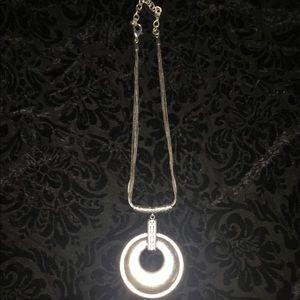 Silver medallion 4 strand necklace